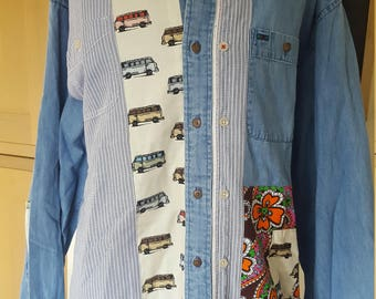 Denim Shirt Up Cycled with Camper-van Fabric