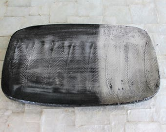 Raku feather tray | Handbuilt stoneware trinket dish