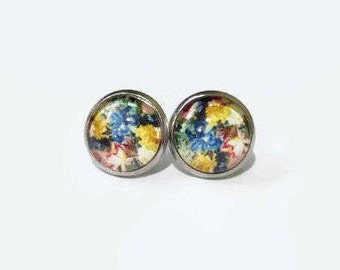 Floral Earrings, Floral Print studs, hypoallergenic studs, 12mm studs, stainless steel studs, Floral Pattern studs , Spring Floral studs