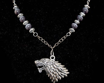 House Stark Necklace - Sigil - Geeky Necklace - Dire Wolf - Game of Thrones - Silver - Black - Cat's Eye - Geeky Jewelry - Gifts - Unisex