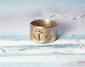 Navy/sailor's unisex ring  in copper, goldy oder white bronze with an Anchor for man or woman Handmade in YOUR size