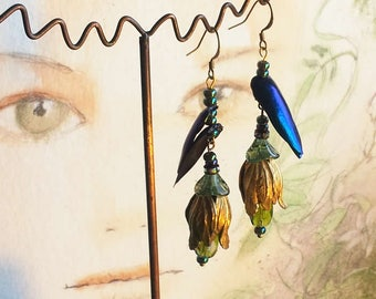 Beetlewing -Earrings   with gilded tulips, crystall drops, little beads, glass flowers and beetle wings /elytras from Thailand