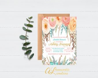 Boho Bridal Shower Invitation, Floral Bridal Shower, Bridal Shower Invitation, Bride to Be, Floral Invitation, Bridal Shower, Digital File