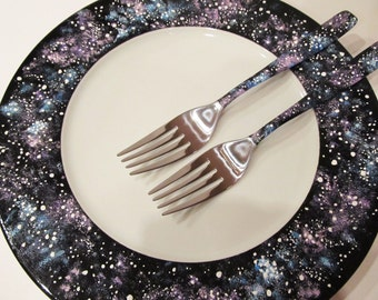 Wedding forks and plate Galaxy Wedding Fork Set Wedding Cake Accessories Bride Forks Hand Painted Wedding Set Forks and Plate Galaxy Wedding