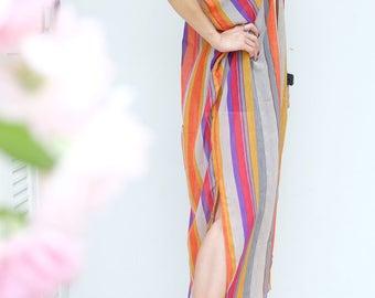 Rainbow Red Strip Chiffon Beach Dress Swimsuit Bikini Cover Up | Casual Maxi Short Sleeve Dress | Spring/Summer Dress