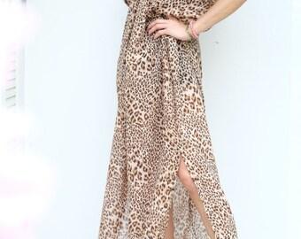 Brown Tiger Printed Chiffon Beach Dress Swimsuit Bikini Cover Up | Casual Maxi Short Sleeve Dress | Spring/Summer Dress