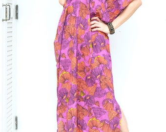 Pink Flower Printed Chiffon Beach Dress Swimsuit Bikini Cover Up | Casual Maxi Short Sleeve Dress | Spring/Summer Dress