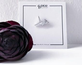Origami Enamel Pin - Origami crane brooch