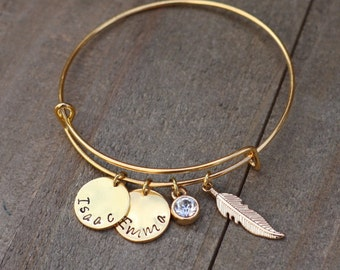Personalized bracelet, Mother gift, Aunt gift, Personalized Name Bracelet, Customized Bangle Bracelet, Christmas present