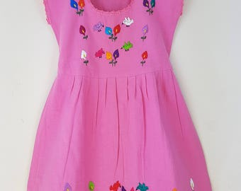 Fiesta dresss mexican embroidery for girls, Toddlers. 100% cotton. Children dress Beige and Pink. 4 to 5