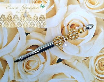 Wedding Guest Book Pen/Silver and Gold Pen/Wedding Pen/Rhinestone Pen/ Engagement Gift/Wedding Gift/Bridal Shower Gift/Anniversary Gift