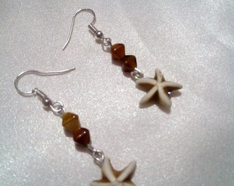 Howlite Starfish And Czech Glass Earrings