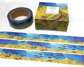 Wheatfield with crows washi tape 7M Van Gogh painting masking tape landscape scenes oil painting decor sticker art of Impressionism tape
