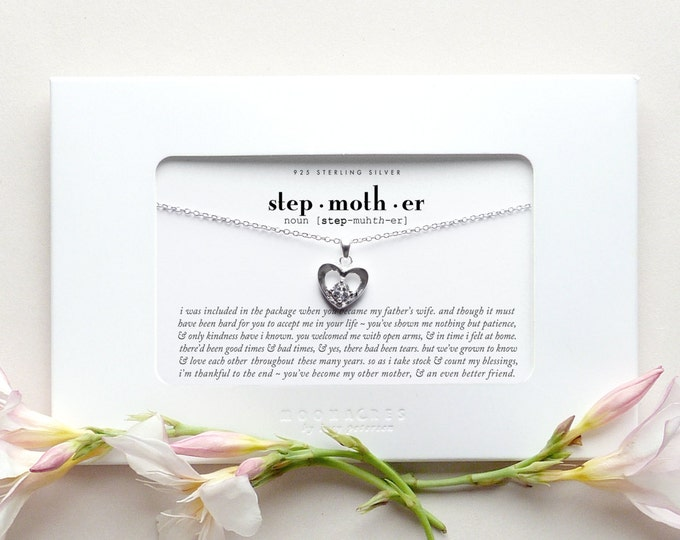 Stepmother | Sterling Silver Heart Necklace Poem Quote Message Card Stepdaughter to Stepmom Step Mother Wedding Anniversary Birthday Gift