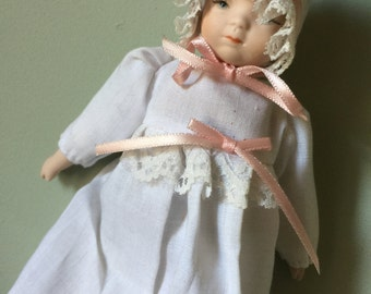 Porcelain Hanging Baby Doll in White Dress. Victorian Doll Display Doll