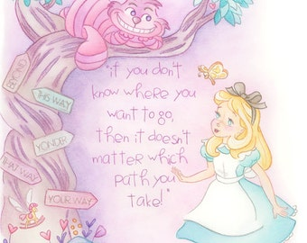 Alice in Wonderland print, Cheshire cat, Alice, art, watercolor art