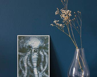 A5 Cthulhu giclée art print -  acrylic painting - macabre - horror - ancient one - Lovecraft fanart