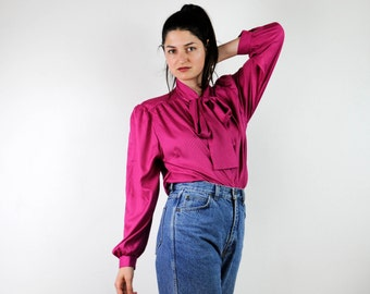 FREE SHIPPING Vintage 80s pink blouse,  ascot bow blouse, secretary button down blouse, long sleeved blouse