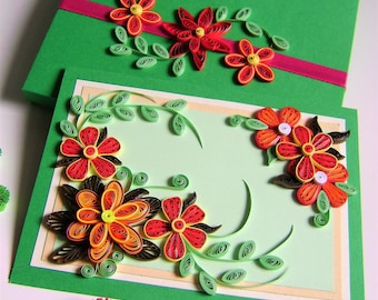 "Quilled Birthday,Greeting Card,Quilling flowers Sweet Handmade ""Fresh"" - Quilling Greeting Card,Handmade Quilling card with summer flowers"