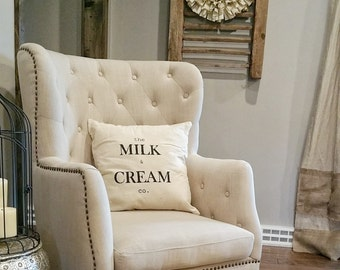 The Milk And Cream Company - Pillow - Throw Pillow - Farmhouse Decor - Industrial - Home Decor - Decor - Rustic Pillow - Vintage
