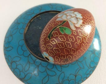 Vintage Chinese Brass Cloisonné Enameled Floral Egg and Plate