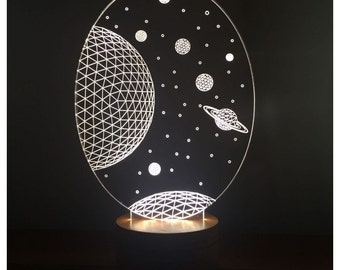 Galaxy Saturn Lamp, the best gift design, Christmas Gifts for Him, 3D illusion LED light, Gift for Men, Gift for women, 3D LED Lamps