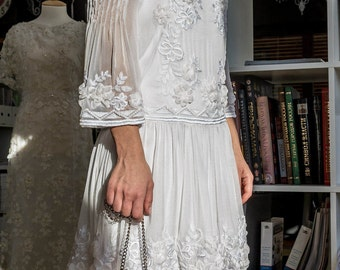 READY-MADE DRESS, haute couture embroidery, white dress, wedding day, hand-made, beautiful dress, white embroidery