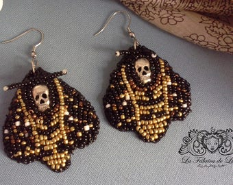Butterfly of Death embroidered earrings