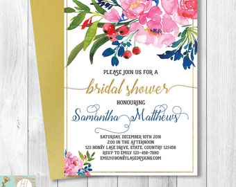 pink and blue floral bridal shower invitation hens night invitation bridal tea party