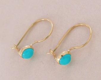 Turquoise Earrings, Gold Turquoise Drop Earrings, Gold Drop Earrings, Solid Gold, Turquoise Jewelry, December Birthstone, Girls Earrings