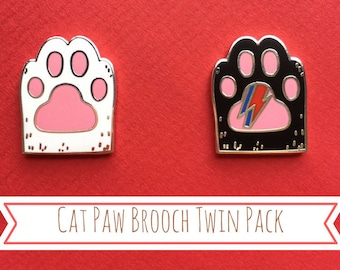 Cat Paw Brooch Twin Pack -  Black and White Cat Hard Enamel Brooch - Cat Lapel Pin - Cat Gifts - Cat Jewellery