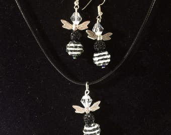 Bee Necklace and Earrings.