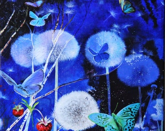 Fantasy night painting, Dandelions paintings, Original oil painting, Boba painting