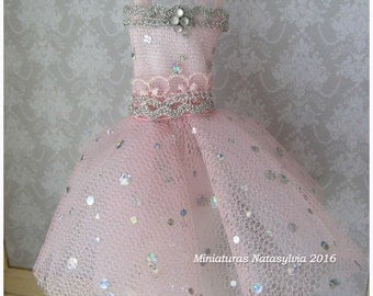 Dress Party Pink Chic in miniature scala 1:12. Collection Haute couture. Handmade