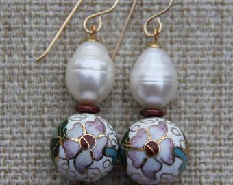 Baroque Pearl Vintage Cloisonne White earring