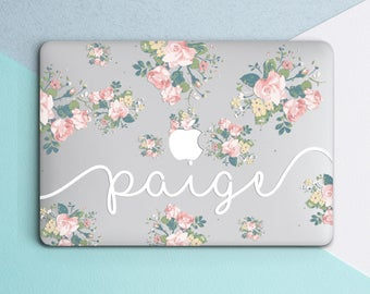 Custom Name Personilized Case Clear Case Laptop Decal Floral Laptop Case Clear Floral Case Macbook Air Case Macbook Hard Case Floral Clear