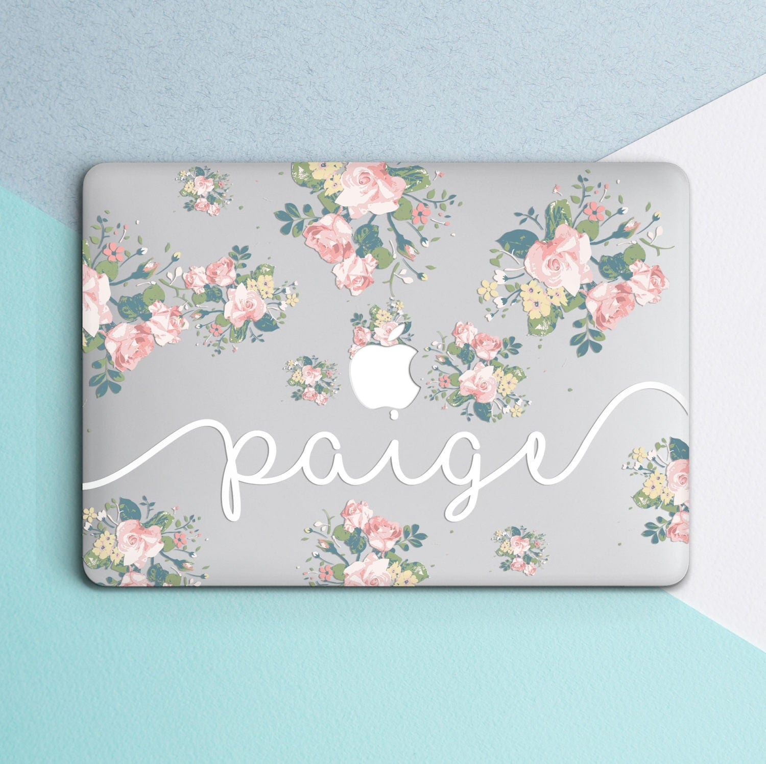 Macbook Cover Ideas : Custom name personilized case clear laptop decal floral