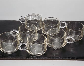 Anchor Hocking berwick boopie bubble glass mugs,glass coffee cups,set of 7,clear glass tea cups,4 oz glass cups,tea set,drinking glasses