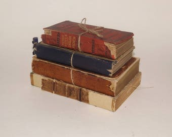Antique small leather bound books,set of 4,red,blue,brown,hardcover books,late 1800s book decor,Elizabeth Barrett Brownings,decoration