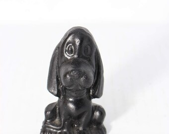 Black Coal and Resin Dog Figurine