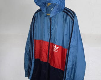 Rare Vintage 80s Adidas Trefoil Shiny Nylon Windbreaker jacket Color Block Navy Blue/ Light Blue/Red  Hip Hop Rap Style  Size L