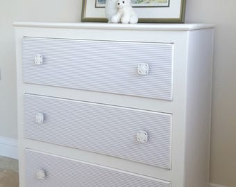Vintage Chest of Drawers, White Dresser, Hand Painted