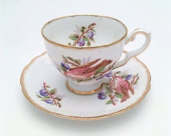 Rare Vintage Tea Cup & Saucer by Royal Stafford, English Bone China, 'Bird Series', Redpoll Bird with Sloes, ca. 1950's