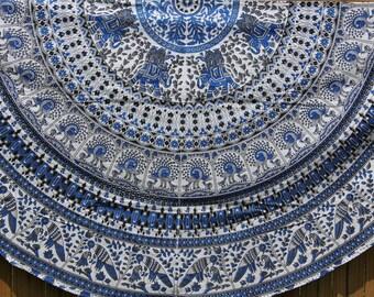 Roundie / Round XL fabric - Picnic, Beach, Yoga, Dorm, College- Tapestry Mandala Bohemian Boho Fabric