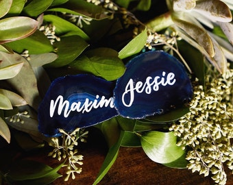 """Geode Agate Place Cards 2""""-3.5""""   Personalized with Handwrtitten Calligraphy"""