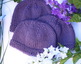 Handknit Baby Hat - Purple