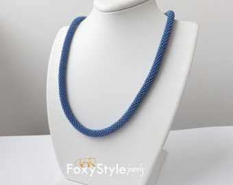 blue necklace casual jewelry mothers gift beaded necklace navy rope jewelry women jewelry wife gift blue gift blue jewelry gift for her sky