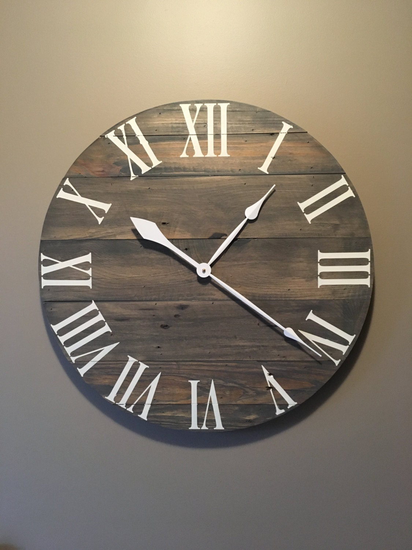 Large gray rustic wood clock pallet clock reclaimed wood for Diy clock
