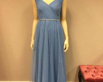 Cornflower Long tulle Designer Bridesmaid Dress Prom Gown with v-neck and beaded waistband detail Size 4