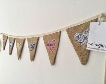 Hessian bunting, bunting with hearts, bunting with Liberty fabric, wedding bunting, Valentine's Day, shabby chic bunting, Mother's Day gift